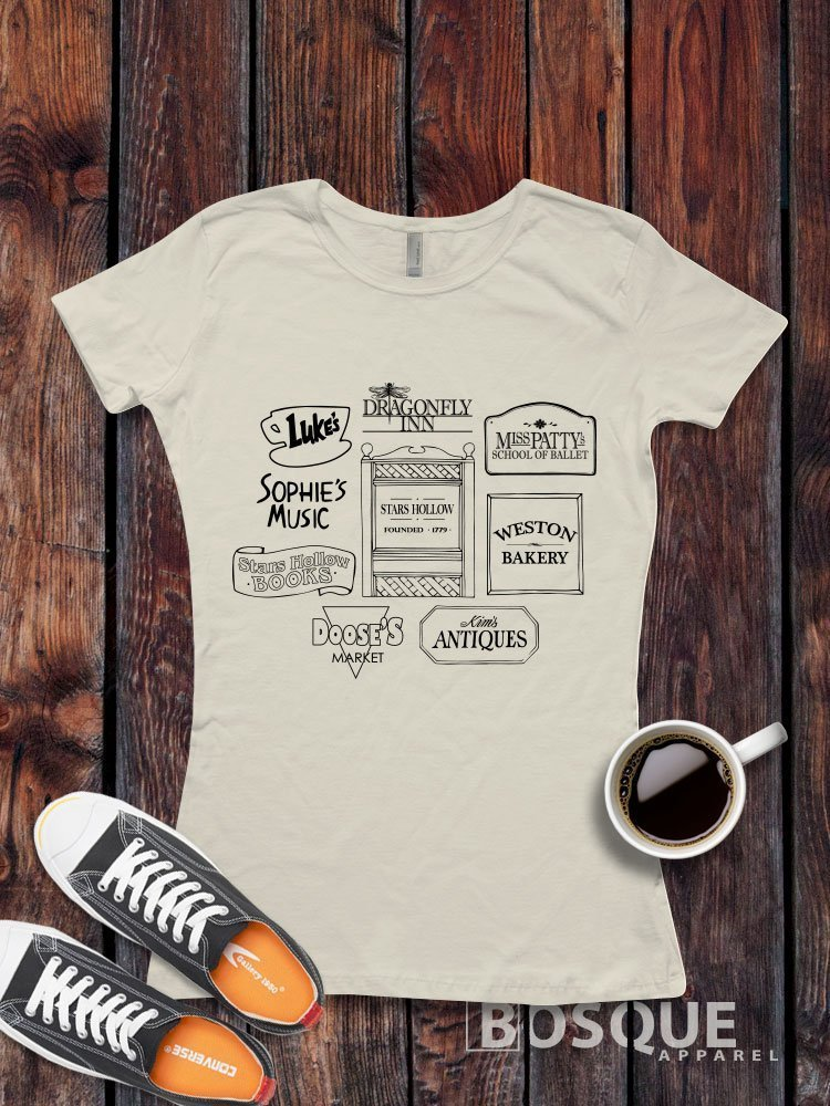 5fe2b6ca Get Quotations · Gilmore Girls Stores Logos Luke's Diner Miss Patty's Stars  Hollow inspired T-Shirt / Adult