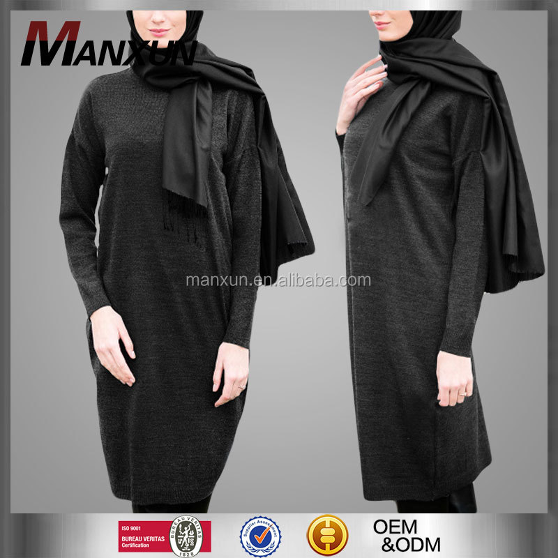 Latest Design Muslimah Blouses Islamic Clothing Plus Size Fashion Muslim Long Sleeve Cotton Blouses Designs Tunic
