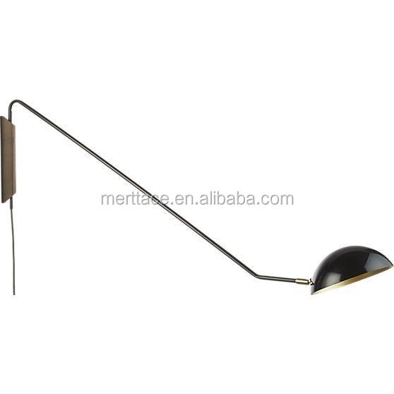Jade Wall Lamp Glossy Half Ball Shade With Long Swing Arm Wood ...