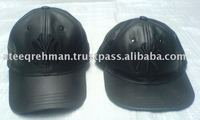 GAF NEW LEATHER SNAPBACK CAP BLACK BASEBALL ERA PLAIN FITTED FLAT PEAK HAT