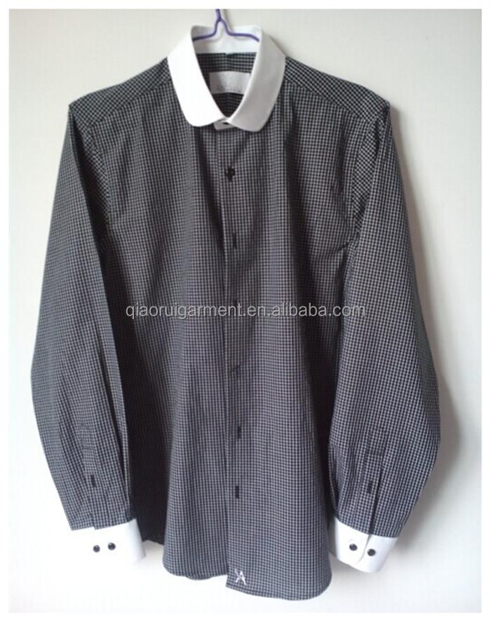 "Mens High collar shirts 4 buttons Spread collar 3/"" high collar band White Cotton"