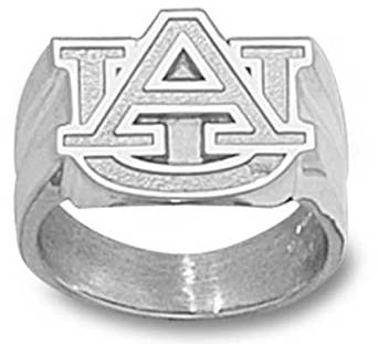 "Auburn Tigers ""AU"" 5/8"" Men's Ring Size 10 1/4 - Sterling Silver Jewelry"