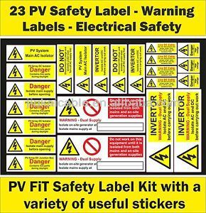 As Nzs 503323 23pcs Set Pv Solar Safety Warning Sticker