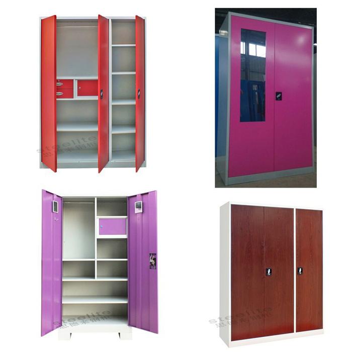 Luoyang steelite steel bedroom double door almirah designs for Bedroom almirah designs india