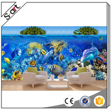 Seascape dolphin canvas painting 3d effect wall decoration for living room home house hotel