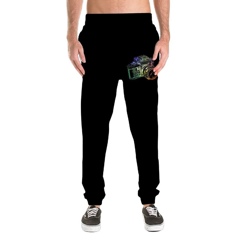 Hokny TD Mens Stripe Elastic-Waist Casual Slim Straight-Fit Breathable Pants