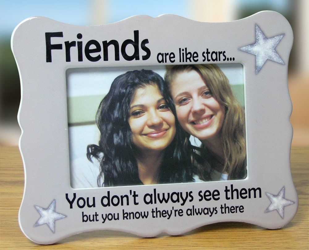 """BANBERRY DESIGNS Friends Picture Frame - Ceramic Picture Frame Fits a 4"""" X 6"""" Photo - Friends are Like Stars - Thank You Gift for a Friend"""