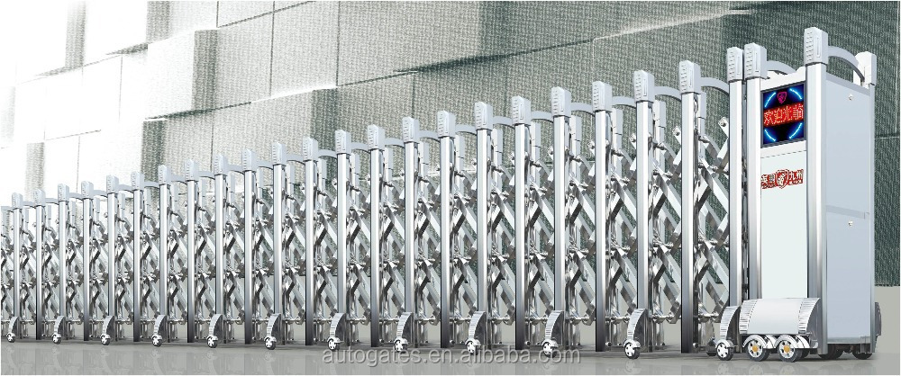 Steel Driveway Retractable Gate Retractable Driveway Gates Grill Door Front  LED Screen Steel Doors