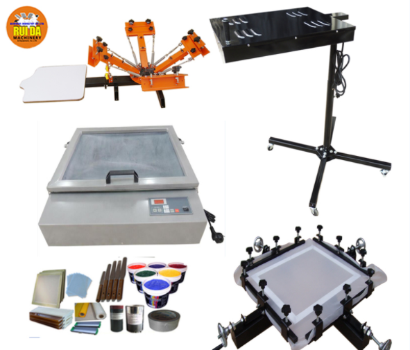3 Color 4 Station Screen Printing Kit Full Material Starter Kit Flash Dryer DIY Rotary Screen Printing Press