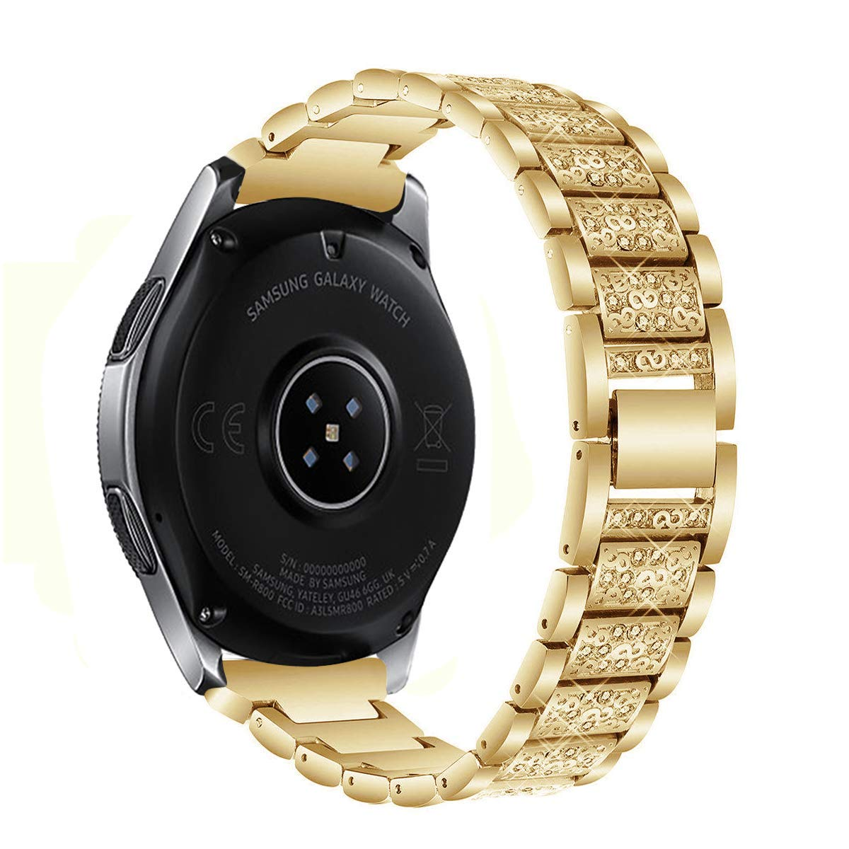 Kartice Compatible Samsung Galaxy Watch(46mm) Bands,22mm Galaxy Watch Band Alloy Crystal Rhinestone Diamon Replacement Bracelet Strap fit Samsung Galaxy Watch SM-800 Smart Watch(46mm).-Gold