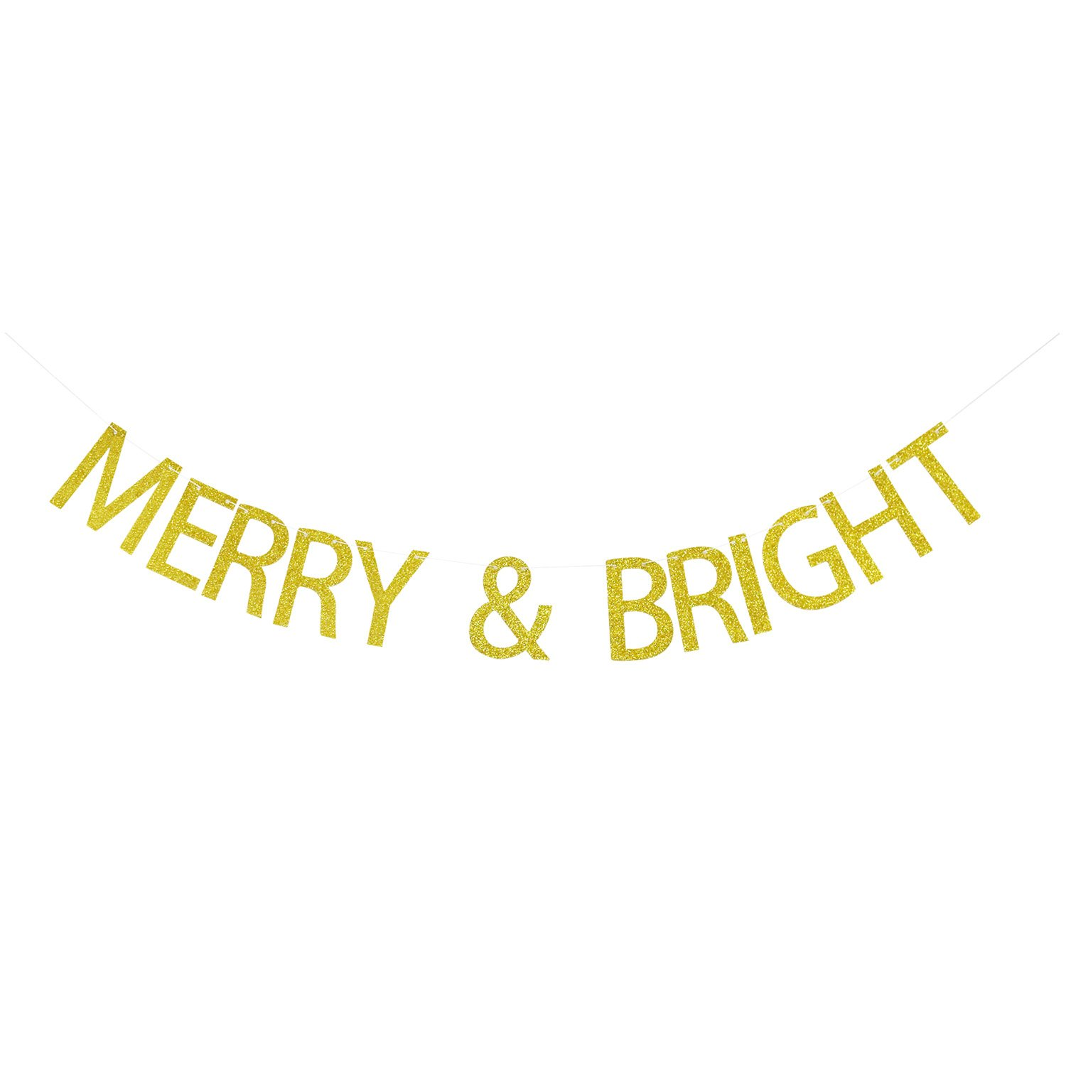 MERRY & BRIGHT Gold Glitter Banner | Holiday Decorations | Christmas Banner Garland | Christmas Party Decor | Christmas Photo Prop | Home Mantle Decor