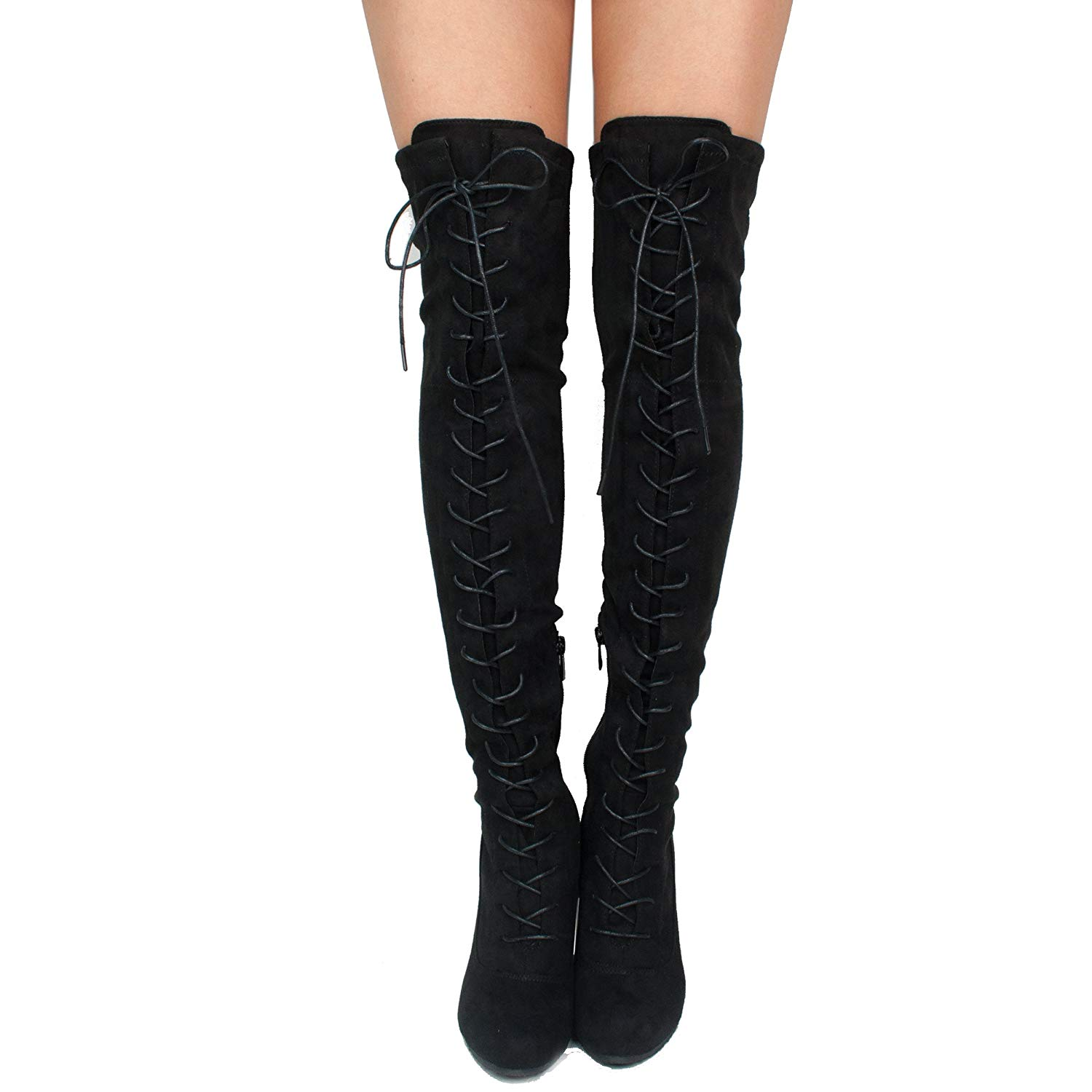 SNJ Women's Lace-up Long Comfy Suede Block Style Over The Knee High Chunky Heel Long Boots