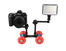 4 wheels desktop dolly DSLR camera photograph rail track slider car