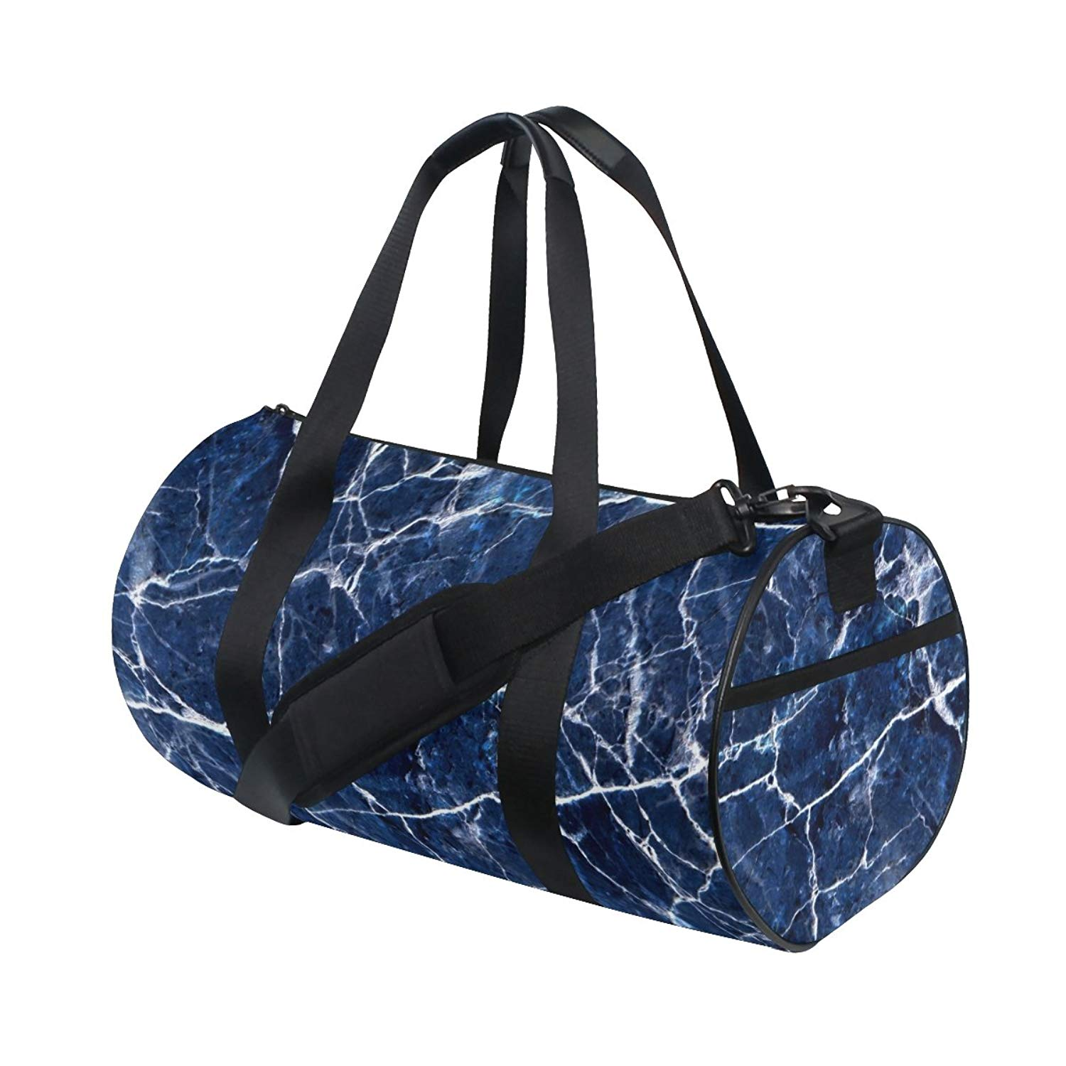 73f6ee54a855 Naanle Dark Blue Marble Texture Gym bag Sports Travel Duffle Bags for Men  Women Boys Girls
