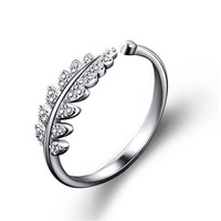 Latest Design 925 Silver Plated Alloy with Zircon Alliance Leaf Women Cuff Ring