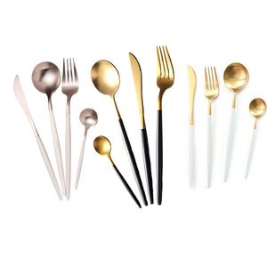 Wedding Elegant Cupitol Style Matte Gold Stainless Steel Knife Spoon Fork Flatware Cutlery Set with White Handle