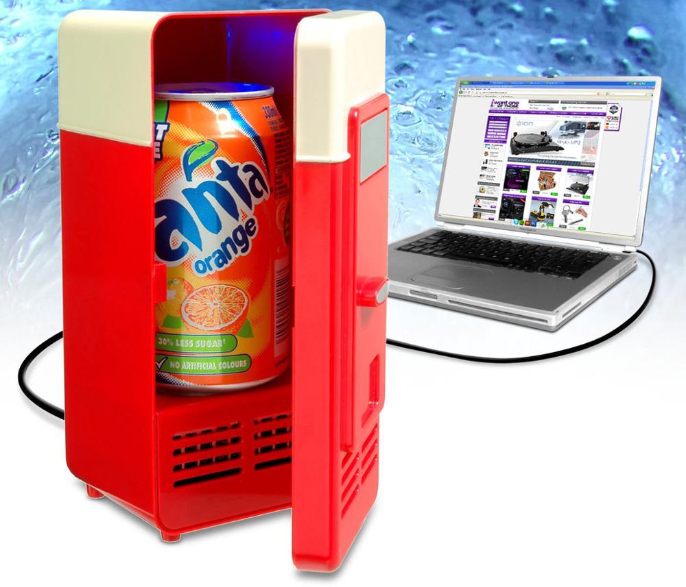 Black Mini USB Fridge LED Mini USB Refrigerator USB Refrigerator Drinks Beverage Cans Refrigerator and Heater