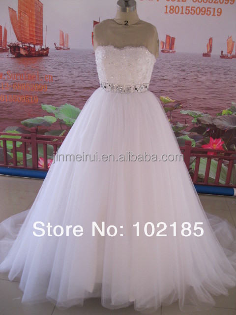 Beautiful Beaded Sash Lace Organza Court Train Bandage A-Line Strapless Wedding Dress