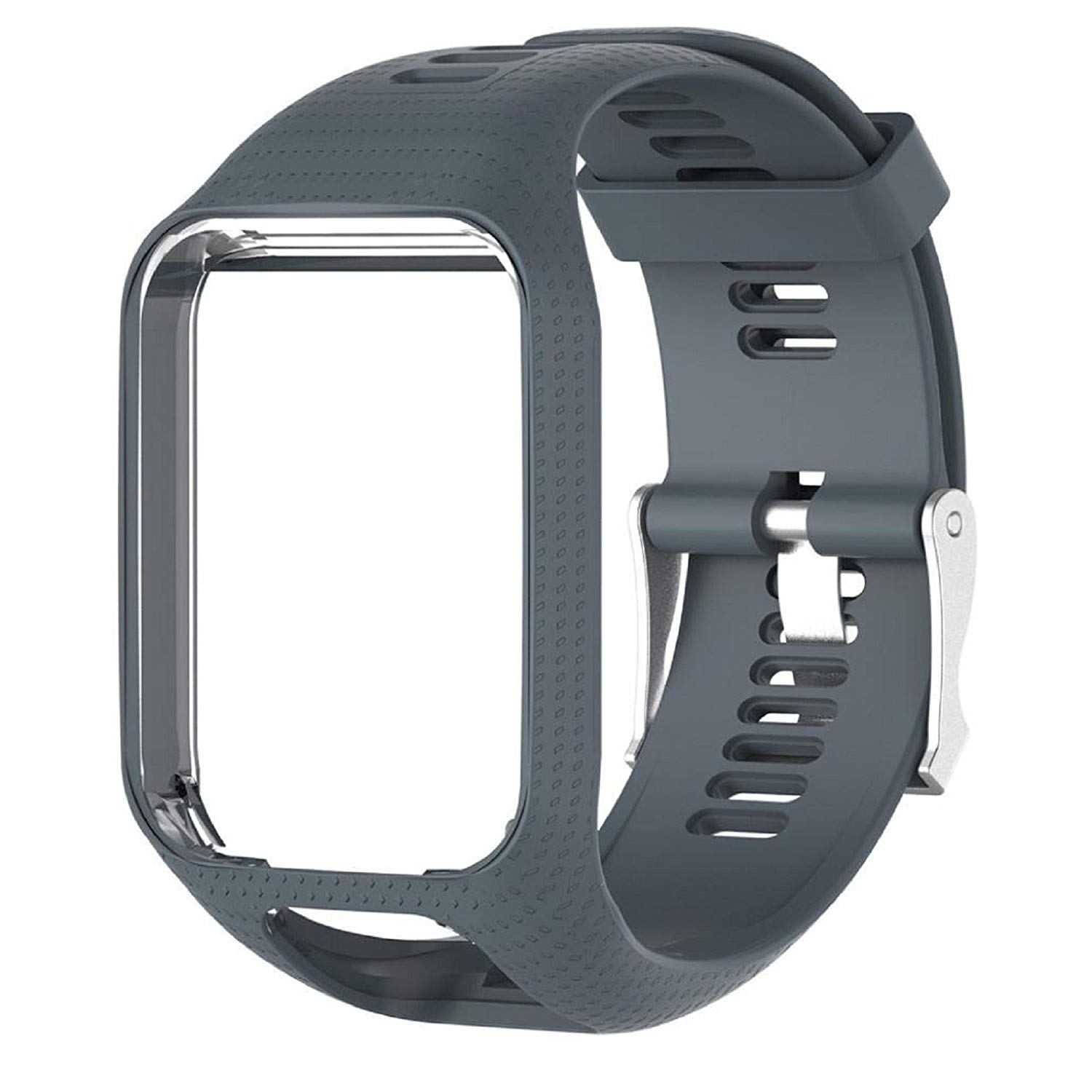 Owill Replacement Silicone Band Strap Frame For Tom Tom Spark/Runner GPS Watch, Band Length: 23cm, Great for Hiking Climbing (Gray)