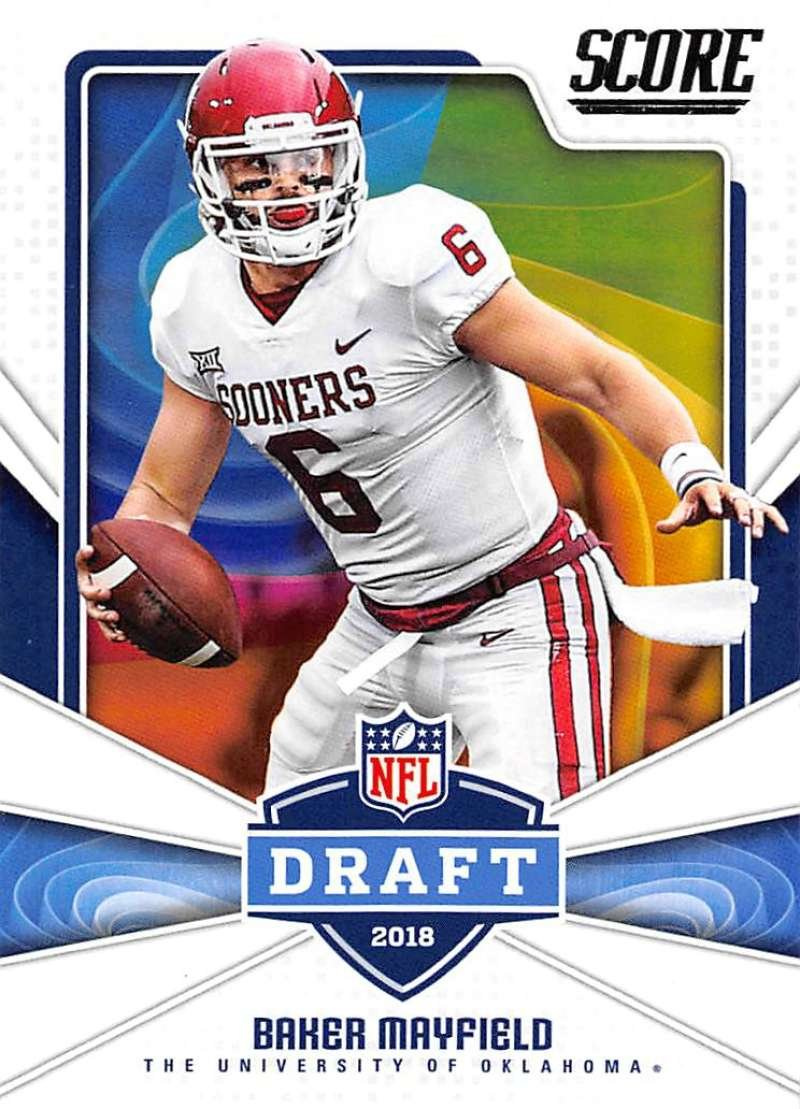 Get Quotations · 2018 Score NFL Draft  17 Baker Mayfield Oklahoma Sooners  Football Card 1bcc35ea4