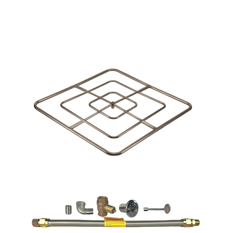Spotix HPC Square Fire Pit Burner Kit (FPSSQ48HCKIT-NG-MSCB), 48x48-Inch Burner, Match Light, Natural Gas