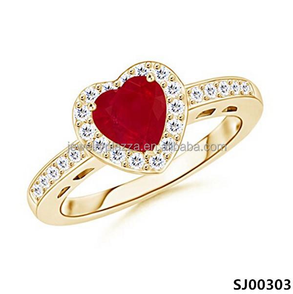 Heart ruby finger ring gold rings design for women sterling silver