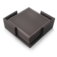 Wholesale Blank Bar Car Leather Wooden Coaster Sets