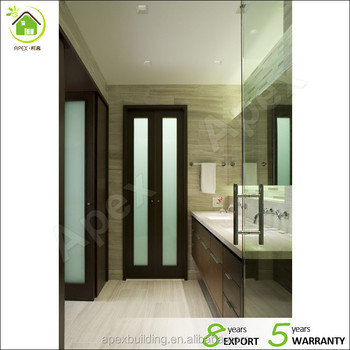 Walnut Color Frosted Glass Shower Doors / Bathroom Door Bi Fold Doors