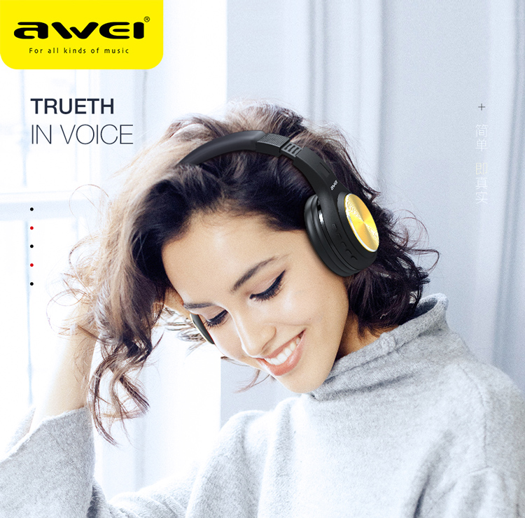 AWEI A600BL Hi-Fi black V4.2 bluetooth headset  made in china