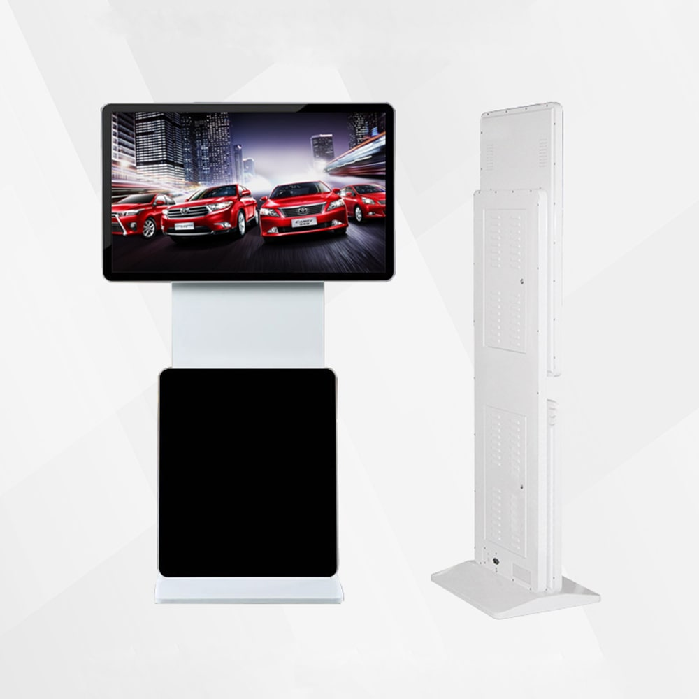 55 inch double screen automatic rotated advertising kiosk in mall