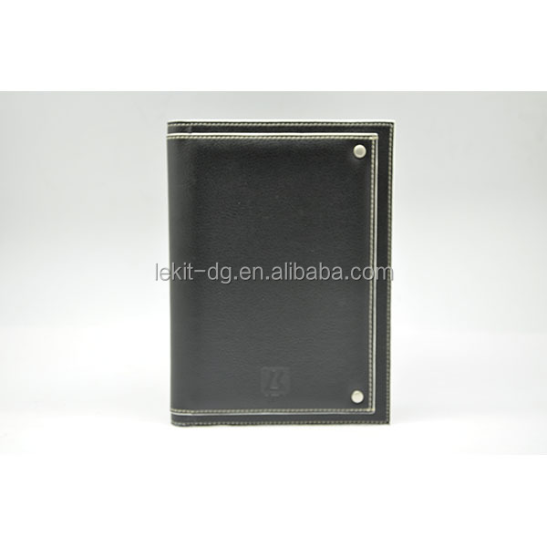 refillable leather notebook with business card holder