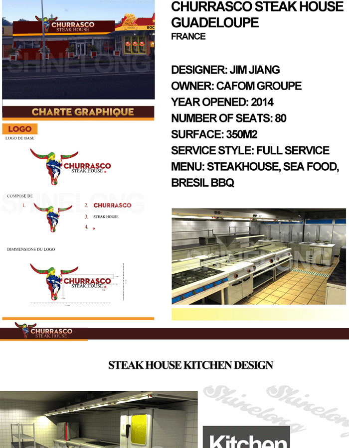 Shinelong Professional Solution French Guadeloupe Churassco Bbq Restaurant Kitchen Design