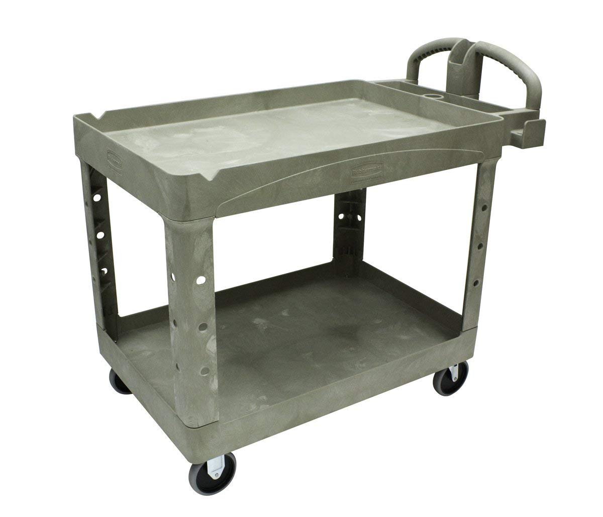 """Rubbermaid Commercial Polypropylene Service Cart with Lipped Shelf, 2 Shelves, Beige, 2000 lbs Load Capacity, 33-1/4"""" Height, 45-1/4"""" Length x 25-7/8"""" Width"""