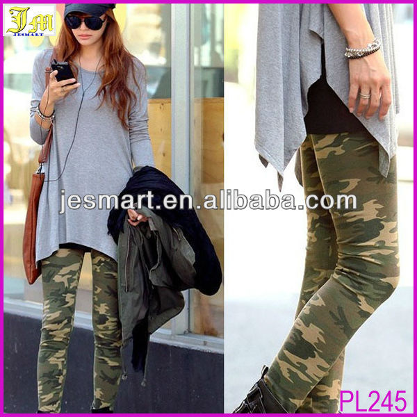 2014 New Cool Sexy Camouflage Army Print Stretch Pants Graffiti Tights Leggings With Cheap Price
