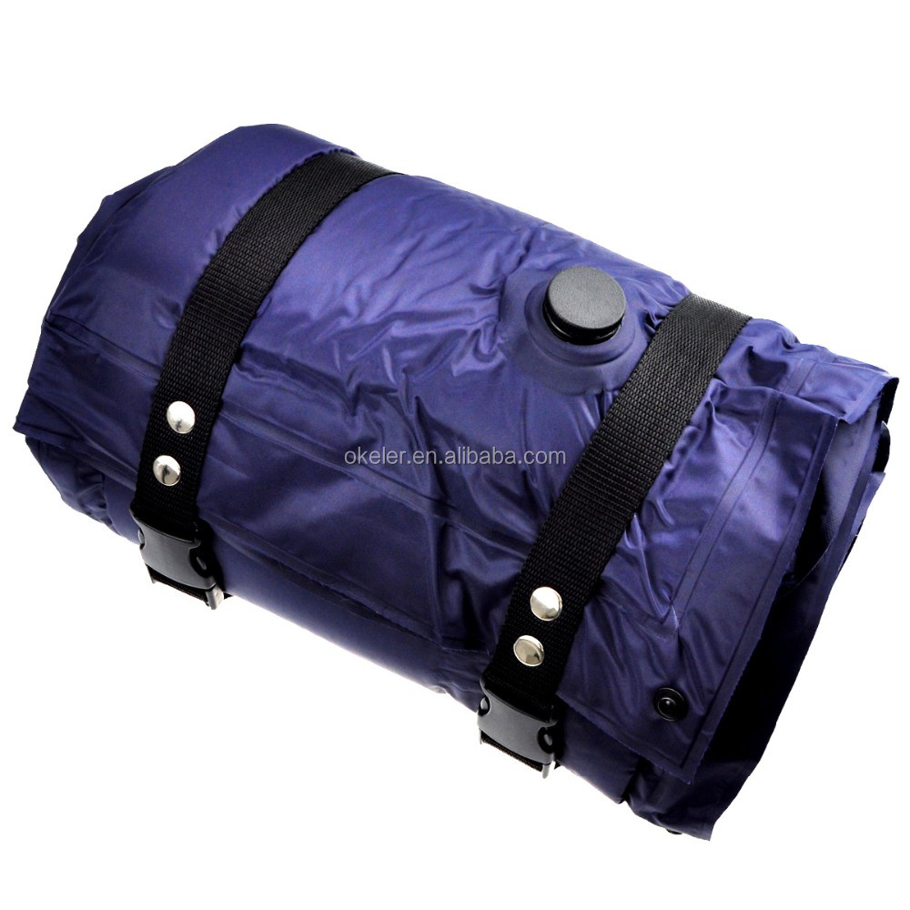 Dark Blue Outdoor Camping Automatic Self Inflating Adult Sponge Sleeping Pad Padded Exercise Mat