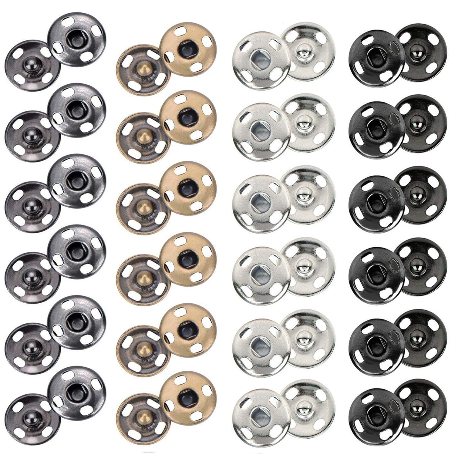 Kenkio 200 Sets 10 mm Sew-on Snap Metal Snaps Fasteners Press Studs Buttons for Sewing Clothing, 4 Colors
