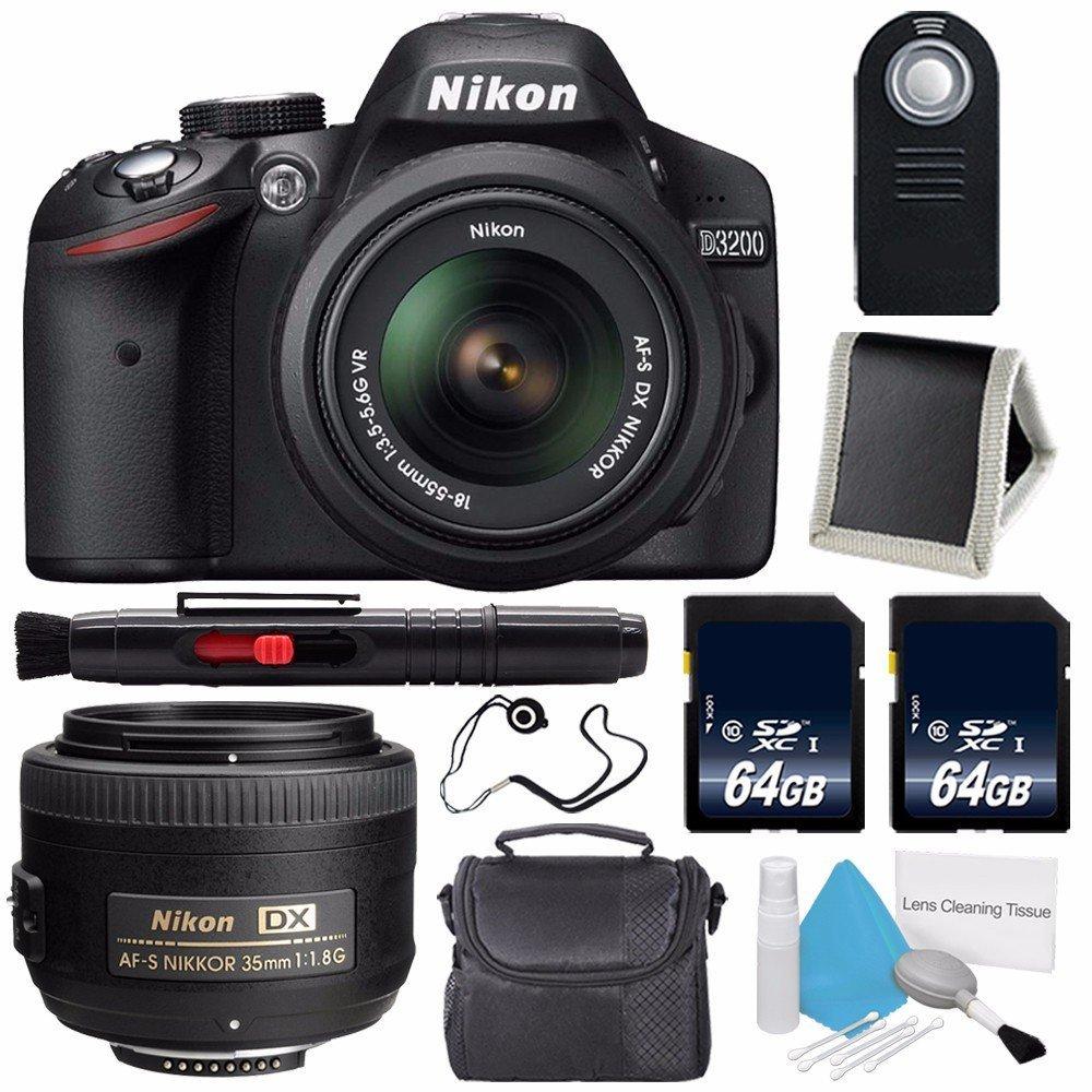 Nikon D3200 Digital Camera w/ 18-55 VR II Lens (International Model No Warranty) + Nikon AF-S DX NIKKOR 35mm f/1.8G Lens + 64GB SDXC Class 10 Memory Card Bundle 89