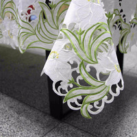 Flower design embroidered tablecloths 85*85 cm square tablelinen for beside table/ refrigeritor/living coffee room table cover