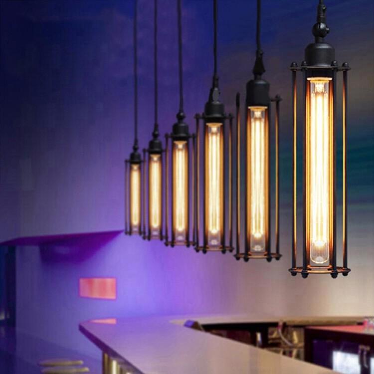 Vintage Iron Cage Matte Black Pendant Lighting With Long Edison ...
