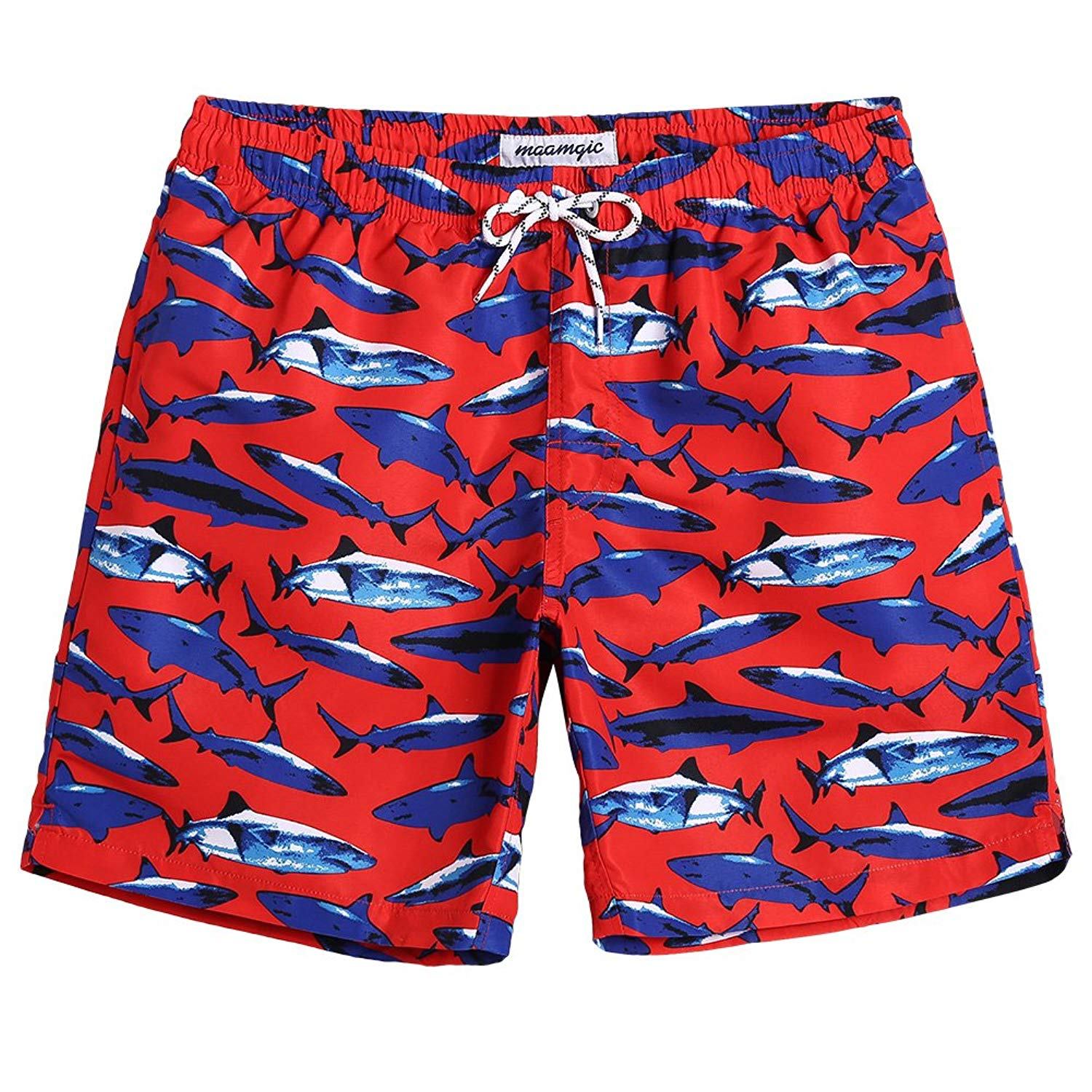 8f8d5ec811 Get Quotations · MaaMgic Mens Shark Swim Trunks with Mesh Lining Quick Dry Swim  Trunks Bathing Suits 18111859130