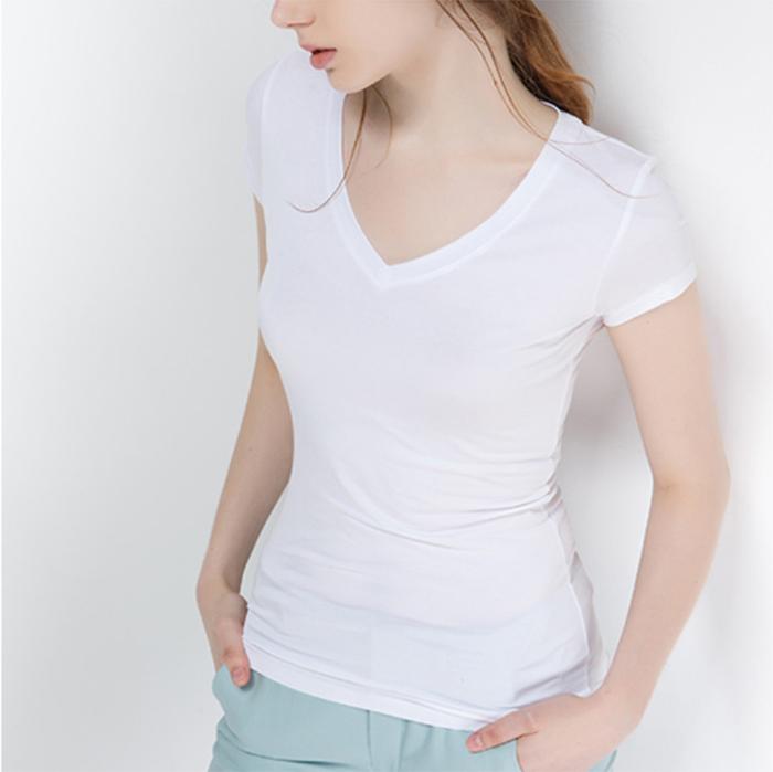 Bayan T Shirt Boş Düz Beyaz polyester T Shirt Özel Baskı Kısa Kollu V Boyun Üreticisi