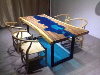 High Quality Solid Wood Dining Table Glass Inlaid Dinning Table Raw Wood Slab With Glass  Inlay