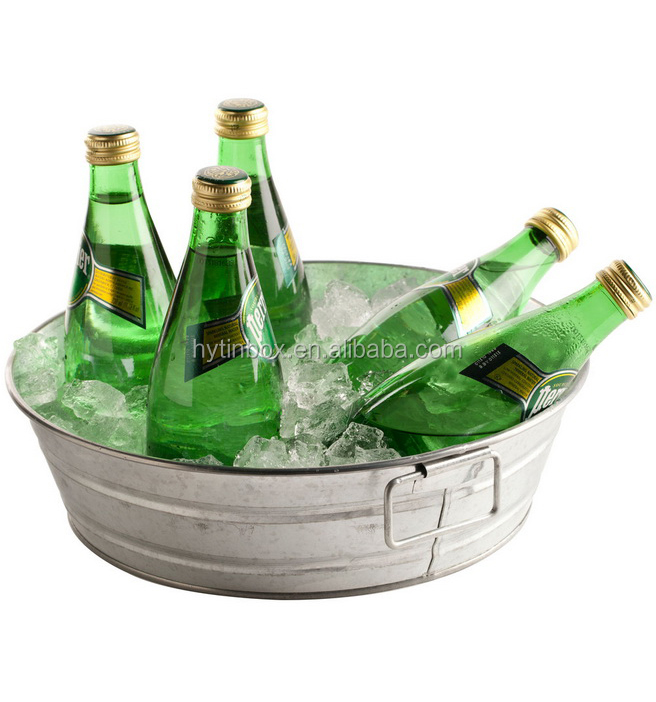 Round galvanized metal beverage tub