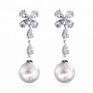 Fashion CZ Crystal Flower Drop Earrings Women Charming Luxury Wedding Pearl Dangle Brides Statement Ear Jewelry Wholesale