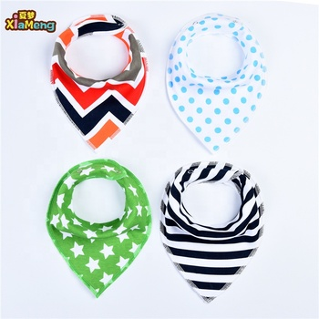 OEM Custom 4 piece-set baby bibs waterproof 100% cotton cute pattern bandana bibs baby bibs bandana 100% cotton