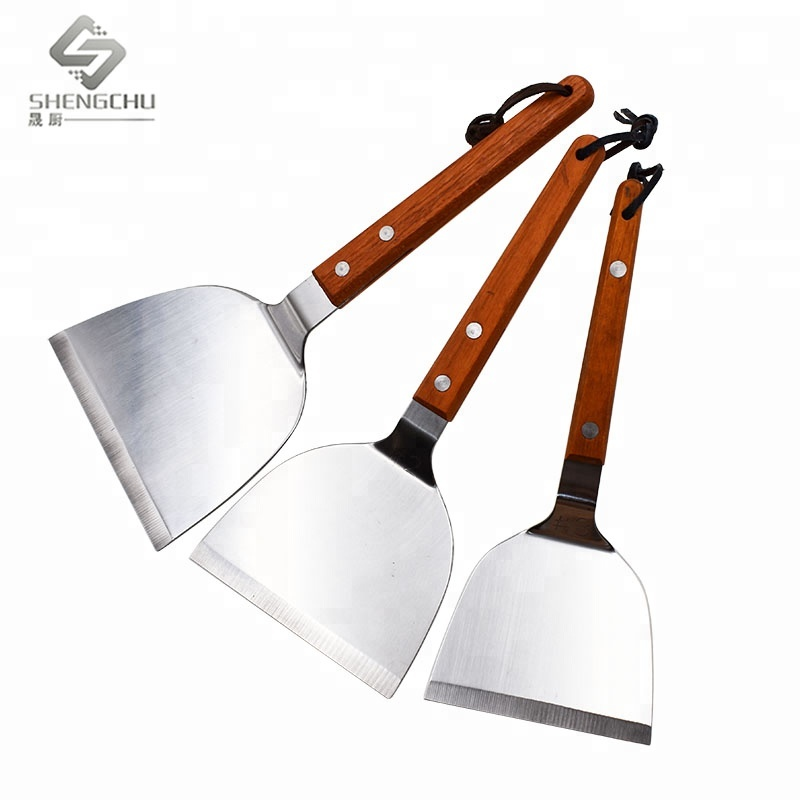 Fast Deliver 3pcs/set Stainless Steel/plastic Handle Frying Pan Kitchen Shovel Fried Steak Shovel Teppanyaki Shovel Shovel Kitchen Tool Set Home & Garden