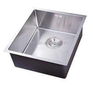 Alibaba china hot sale 380X440X200mm Under mounted Single bowl handmade kitchen sink with dish drainer