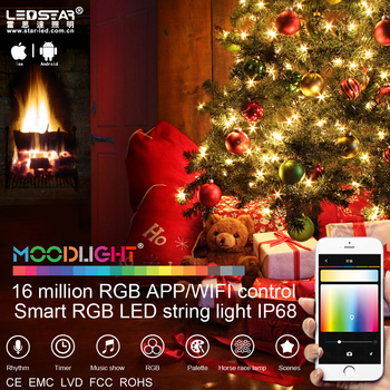 moodlight smart wifi led remote control christmas light waterproof string light rgb decorative fancy light