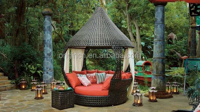 oasis luxus asiatischen stil indoor tagesbett mit kegel dach outdoor baldachin lounge buy. Black Bedroom Furniture Sets. Home Design Ideas