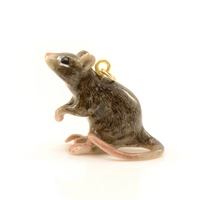 Porcelain Brown Rat Pendant Animal Hand Painted Vintage Jewelry Supplies